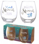 Set of 2 Glass Tumblers with Mermaid Slogans